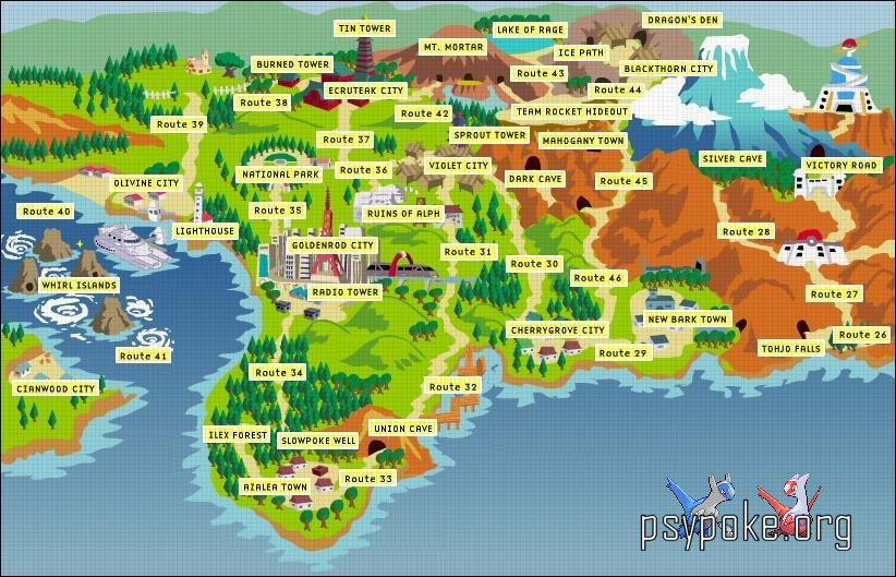 Pokemon Gold, Silver and Crystal :: World Map