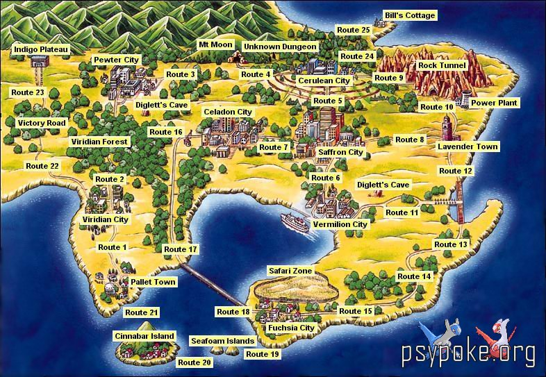 Pokemon Red, Blue and Yellow :: World Map